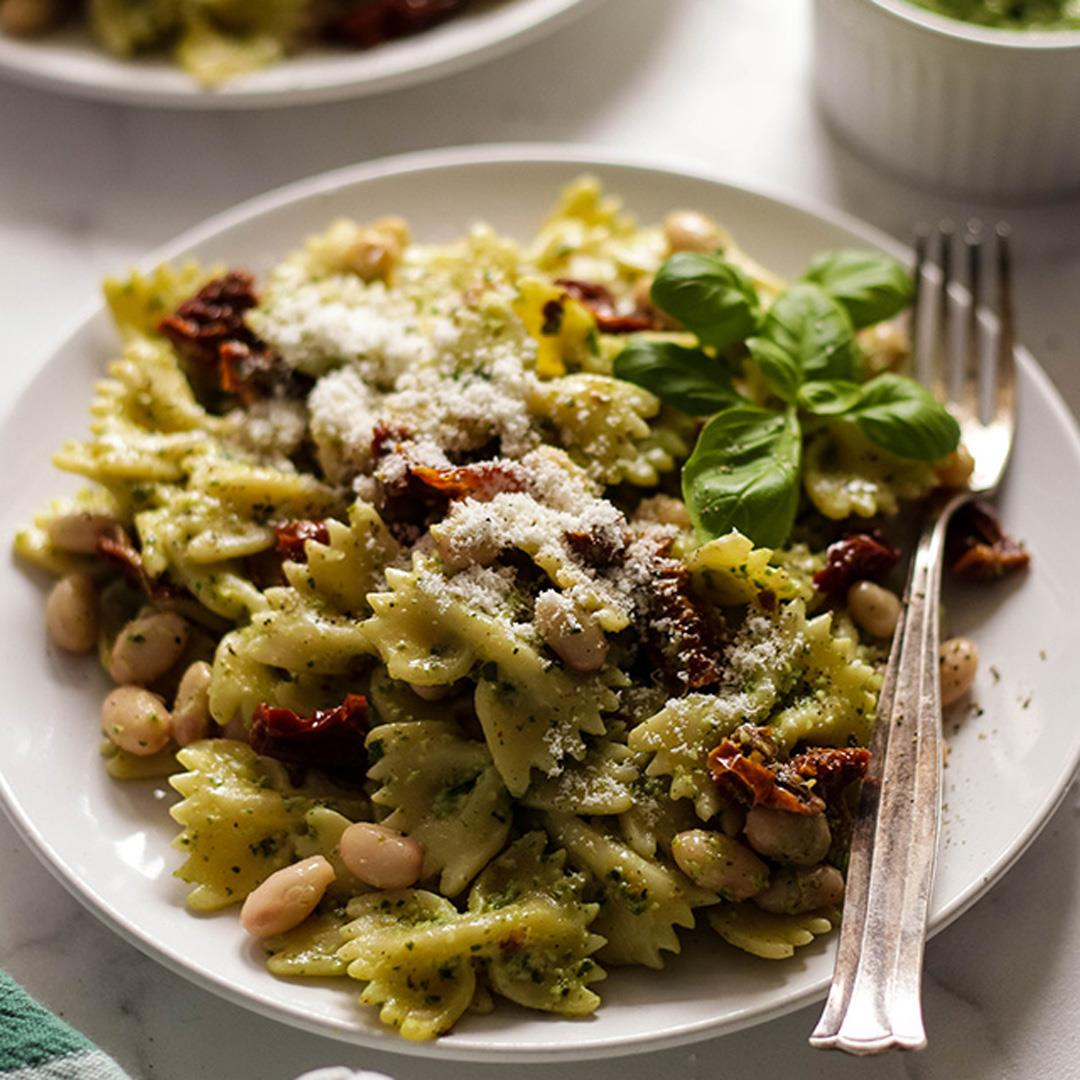 Vegan Pesto Pasta with Beans