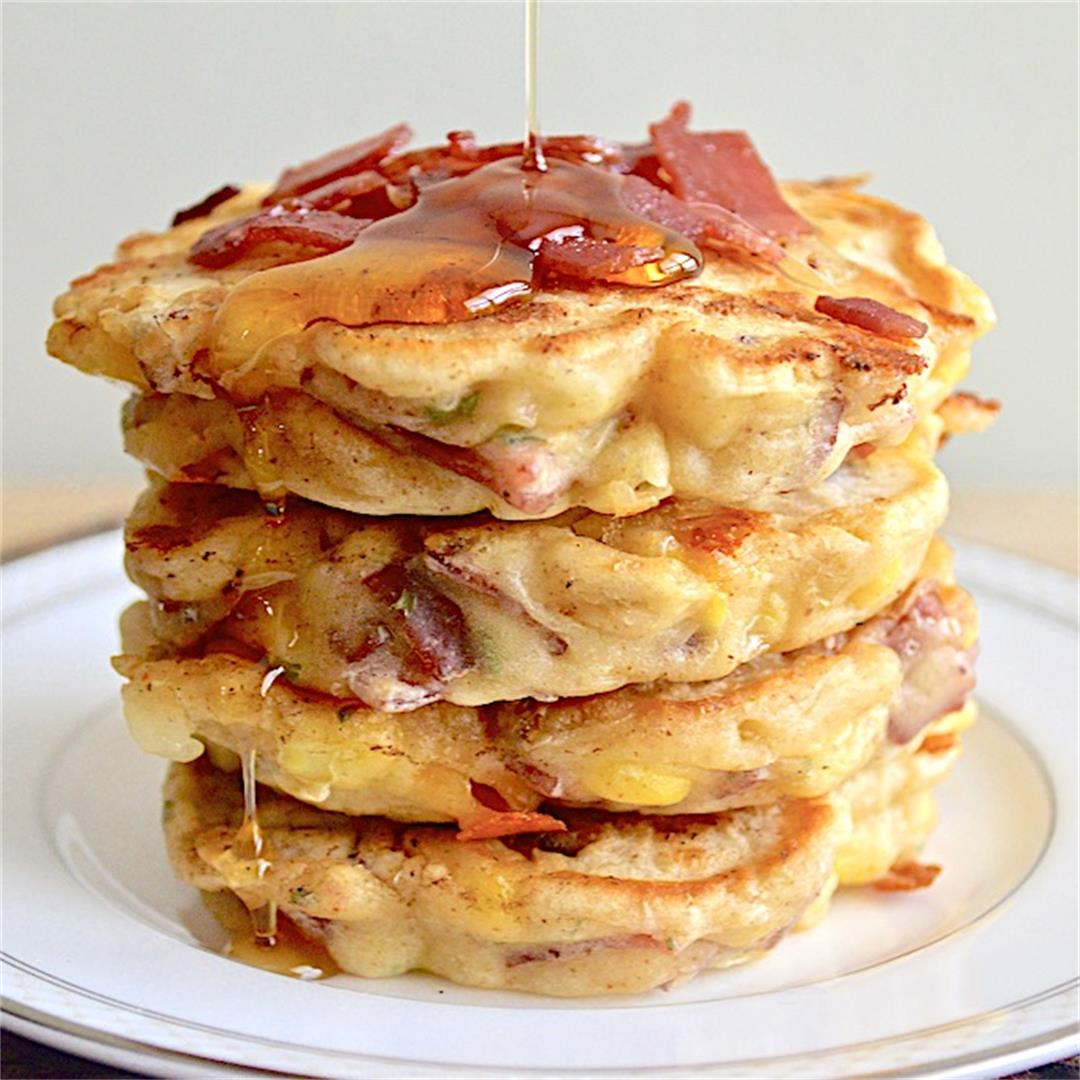 Cheesy Turkey Bacon and Corn Griddle Cakes