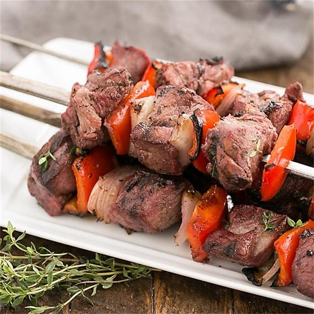 Marinated Greek Lamb Kebabs