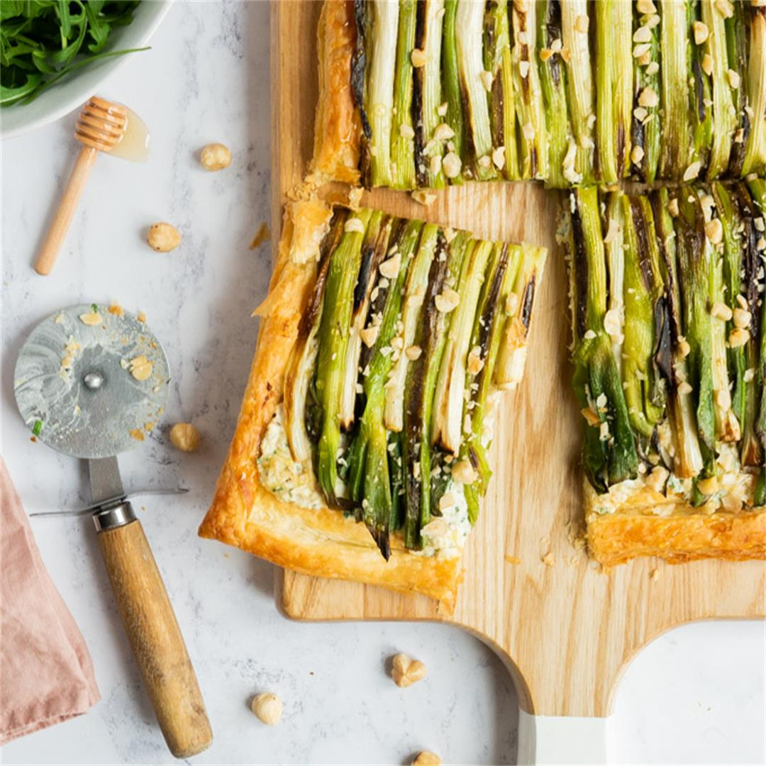 Charred Spring Onion Tart with Ricotta and Cheddar
