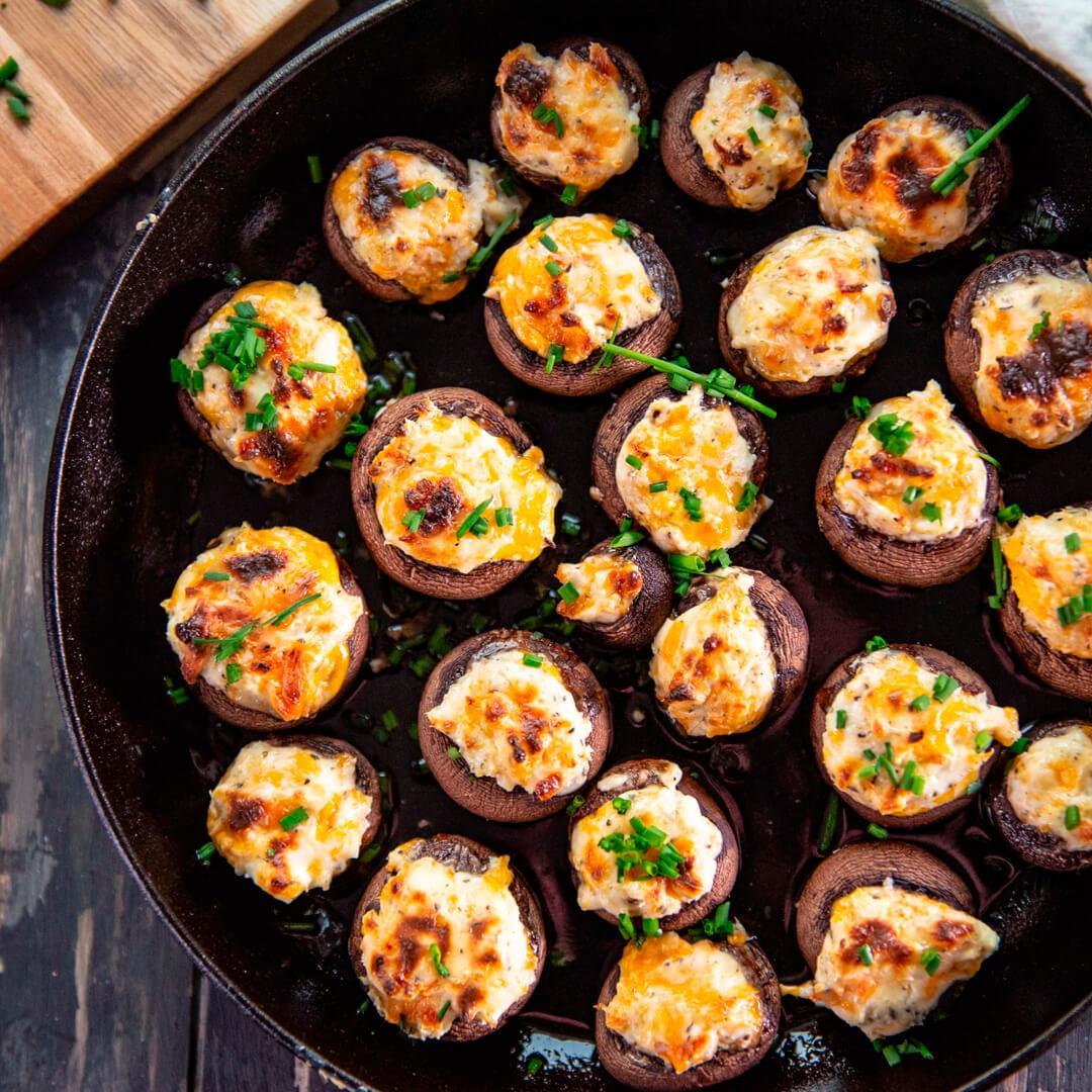 30-Minute Herb & Cream Cheese Stuffed Mushrooms