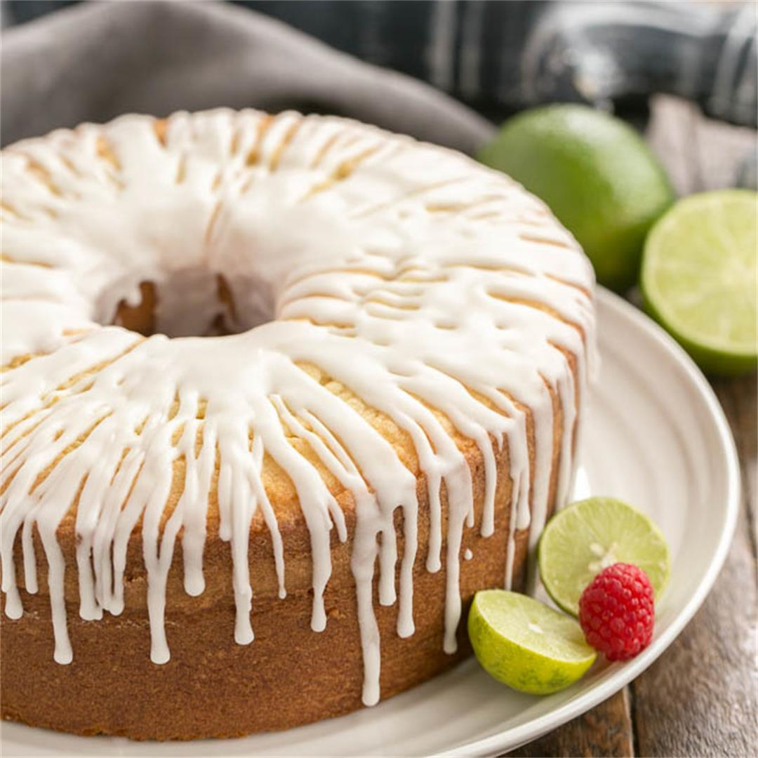 Key Lime Pound Cake drizzled with a sweet tart lime icing!