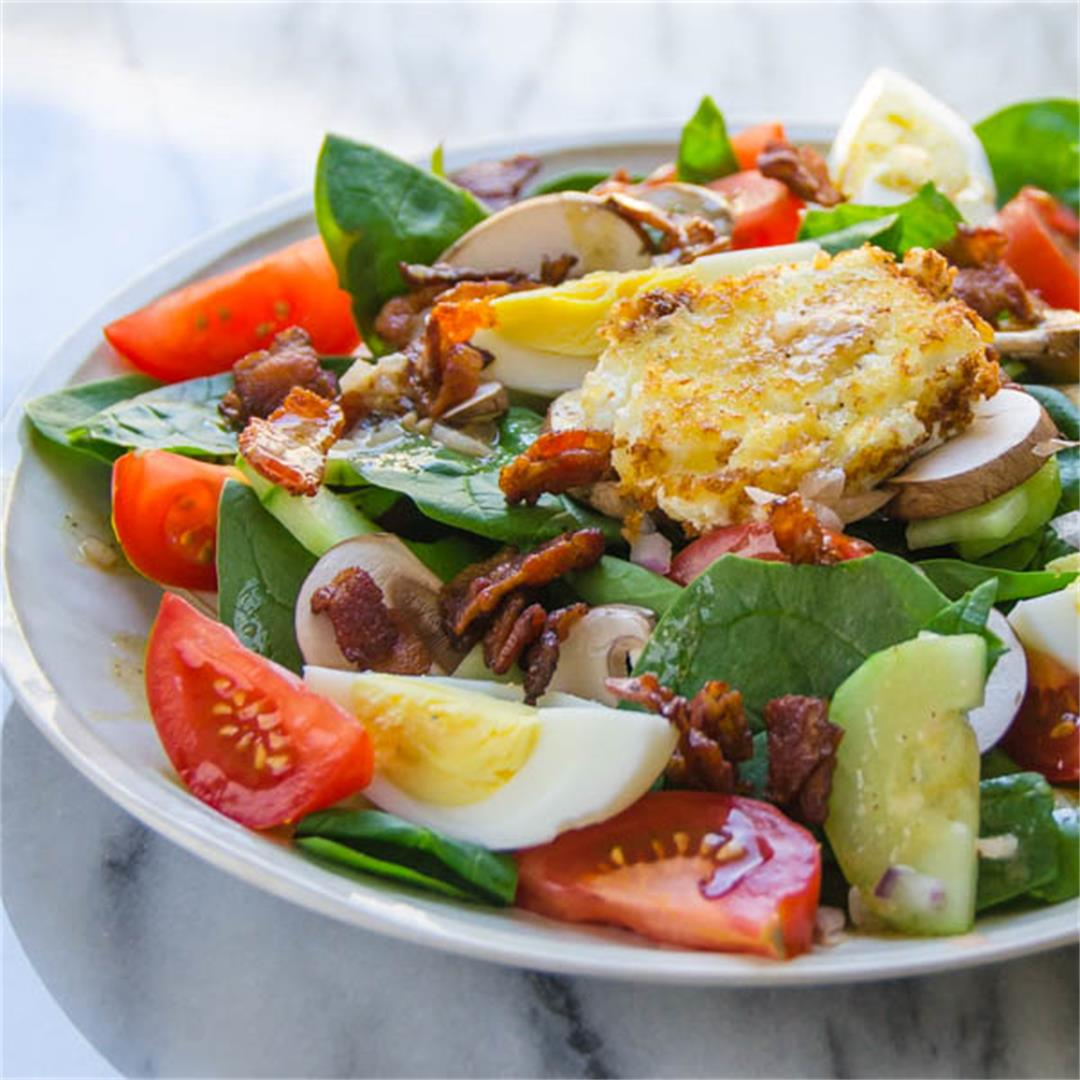Spinach Bacon Warm Goat Cheese Salad