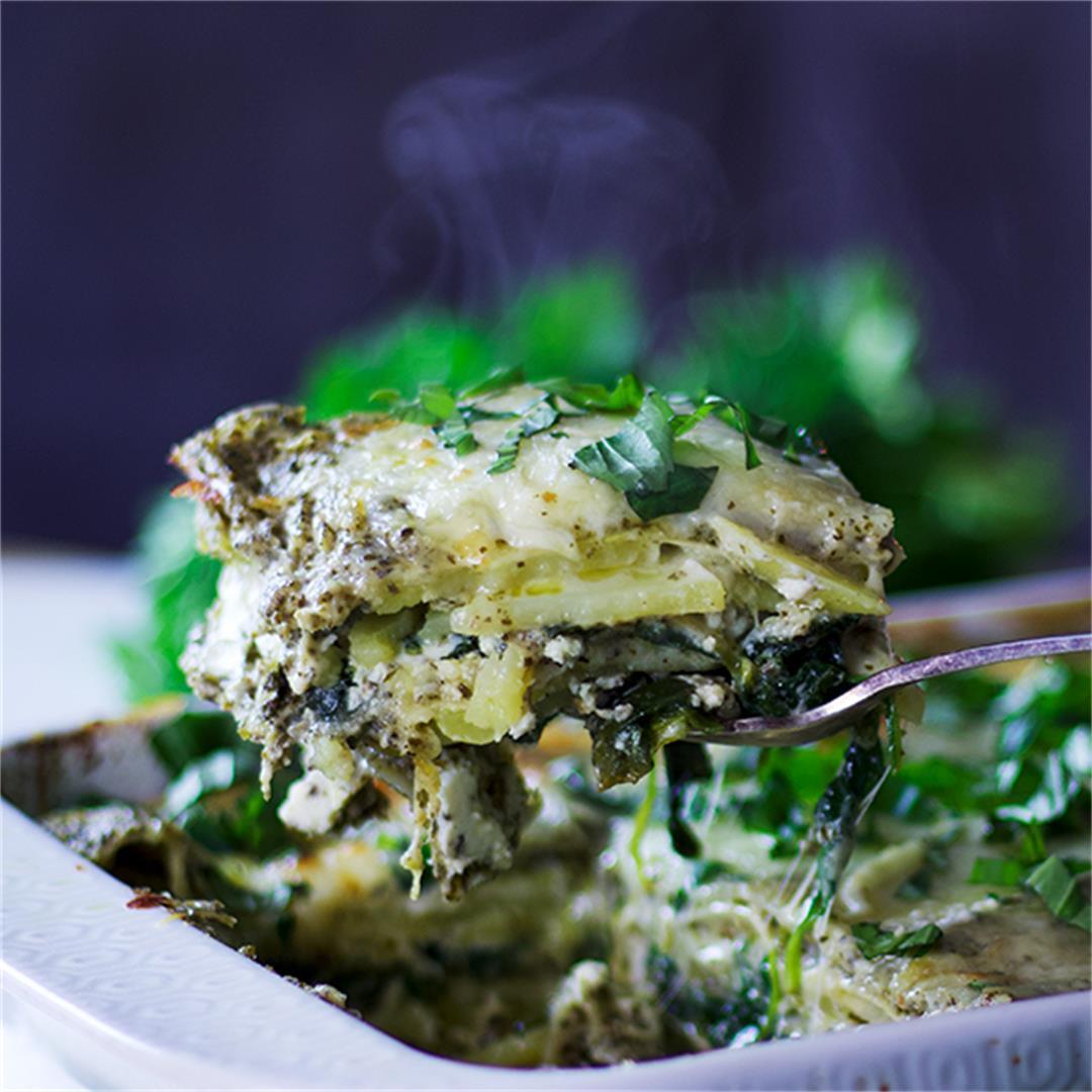 Green Tea Pesto Potato Lasagna
