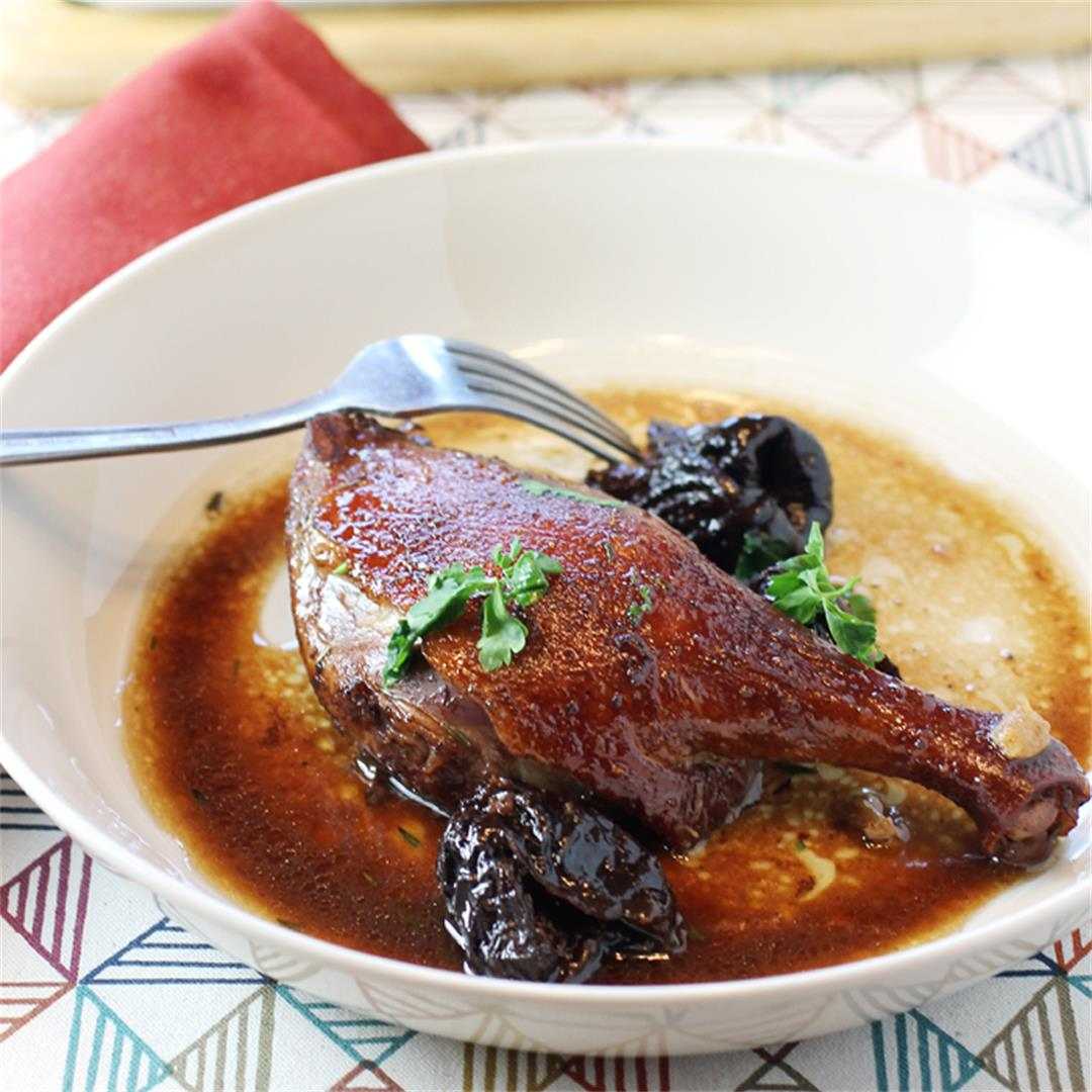 Red-wine braised duck with dried plums