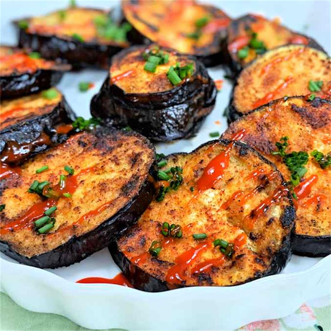 Spicy fried aubergine