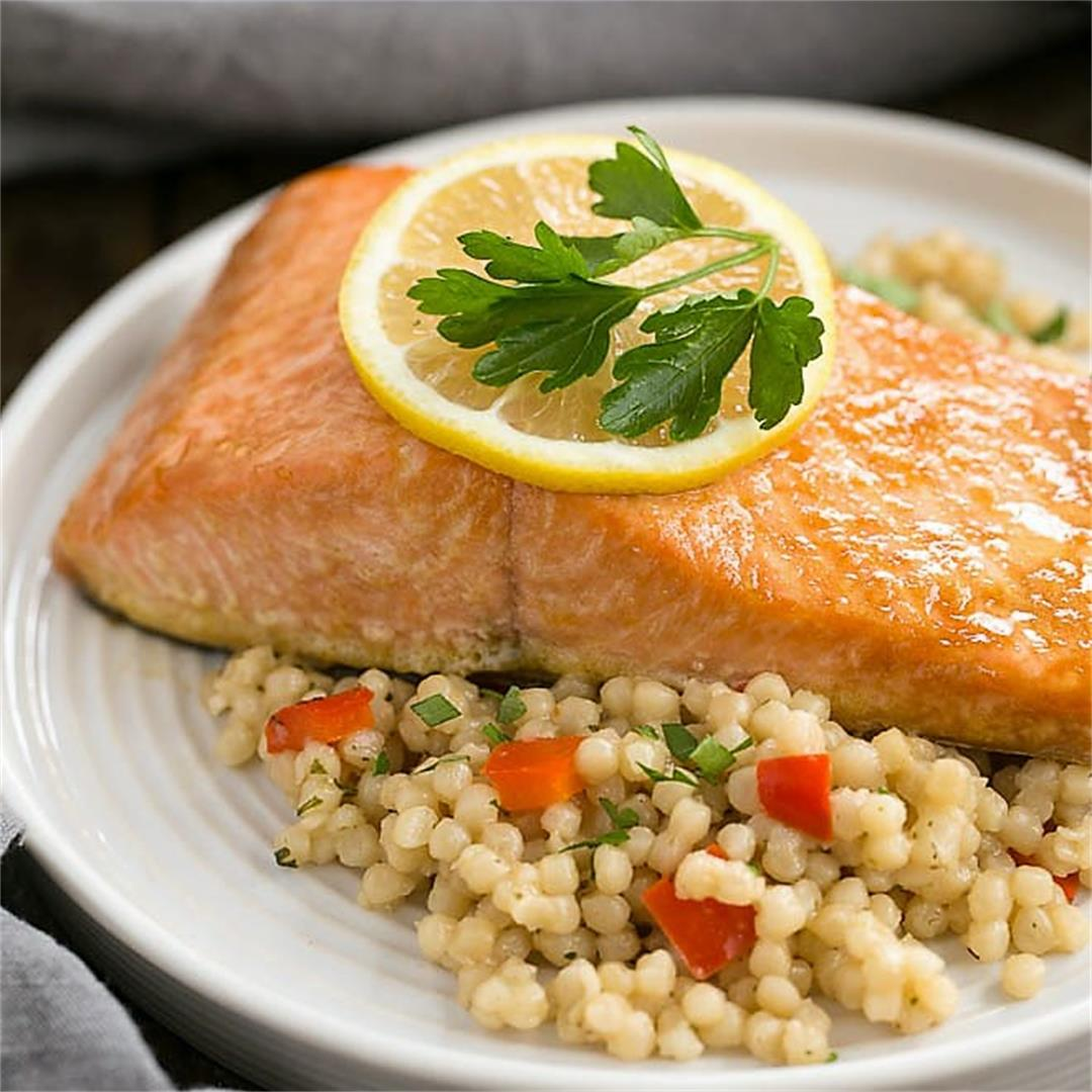 Easy Glazed Salmon marinated with pantry ingredients