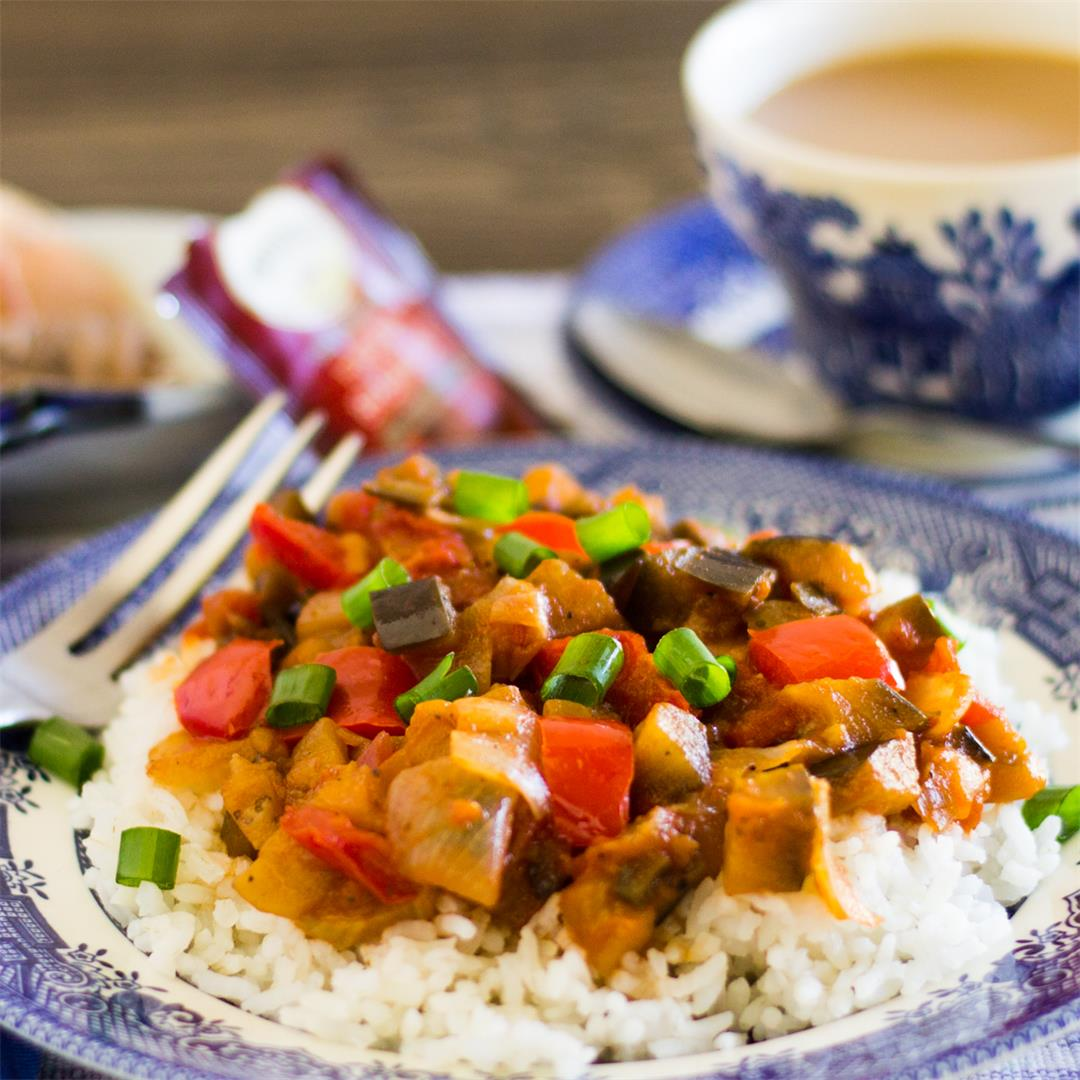 Sweet and Sour Savory Eggplant on Rice produces eggplant lovers