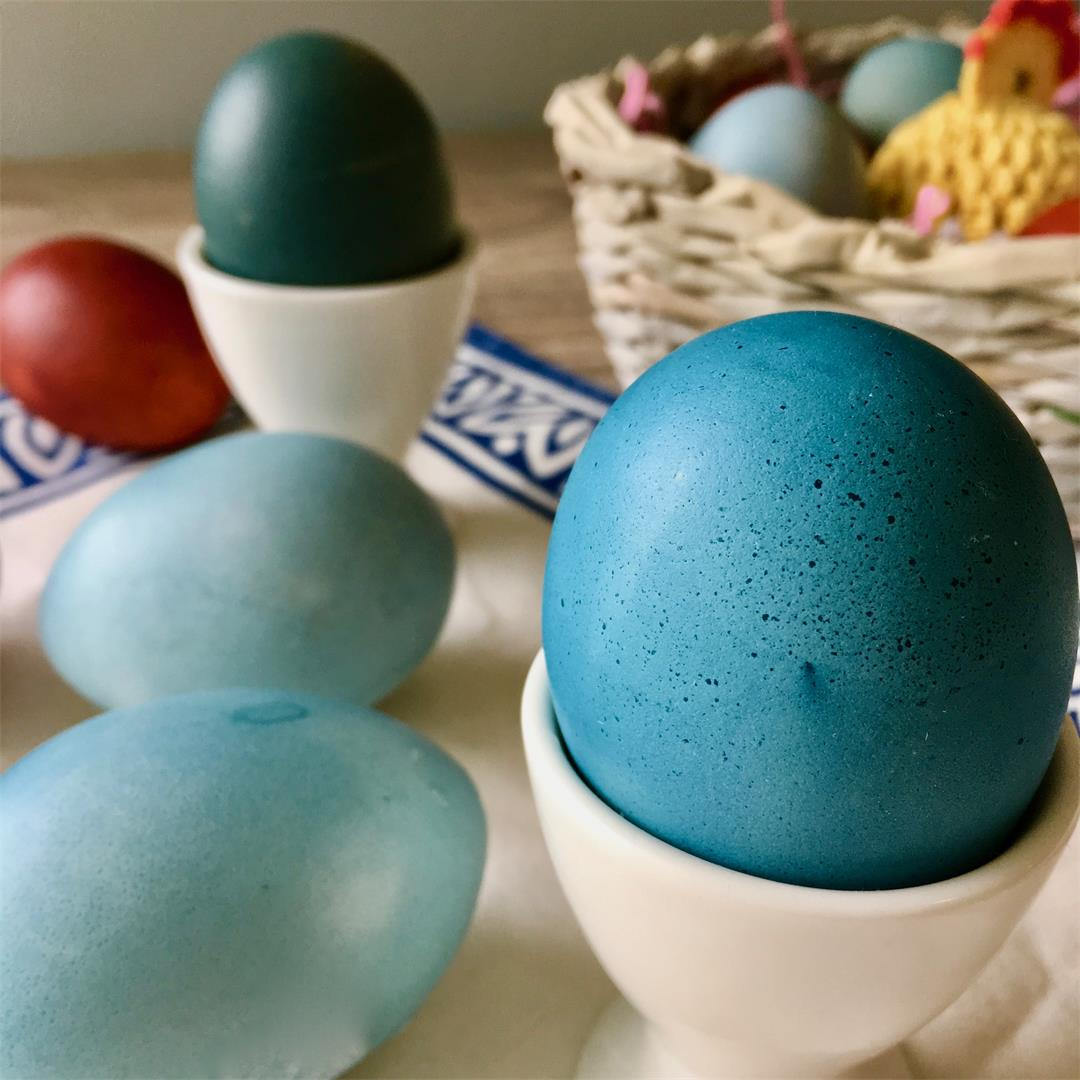 Edible Dyed Easter Eggs from Red Cabbage