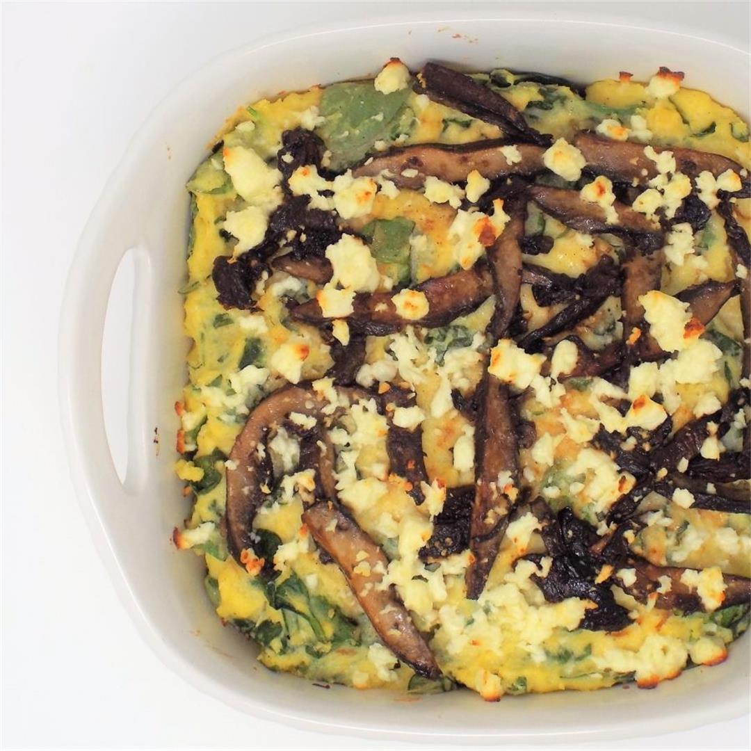 Spinach and Portobello Polenta Bake