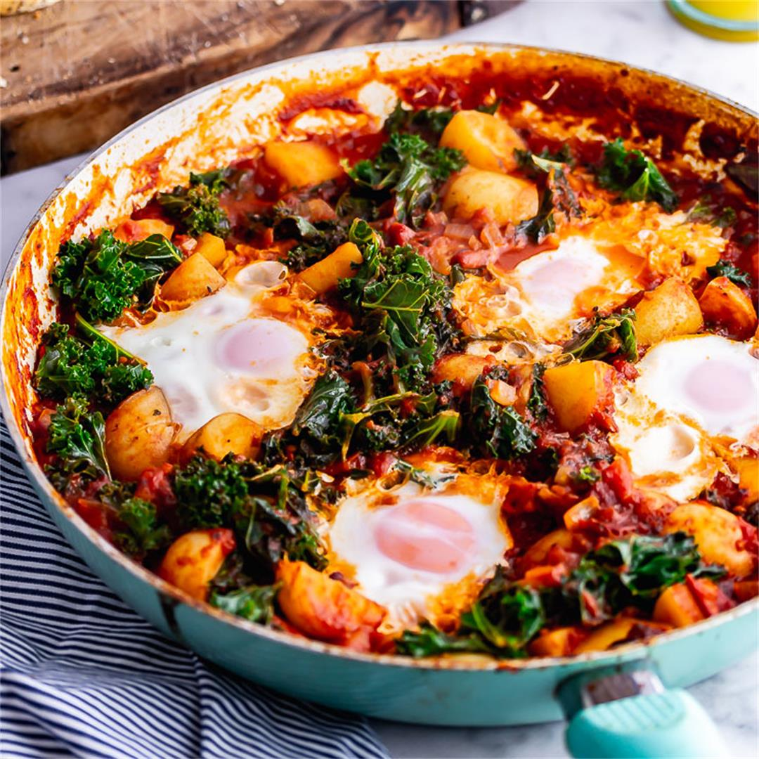 Chipotle Eggs and Potatoes with Kale