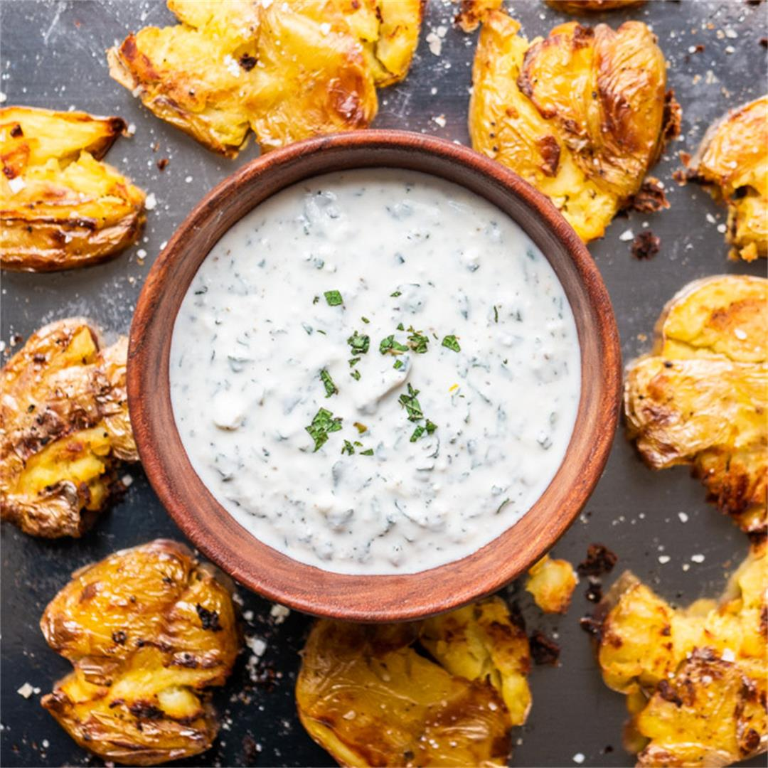 Crispy Smashed Potatoes with Mint and Feta Dip