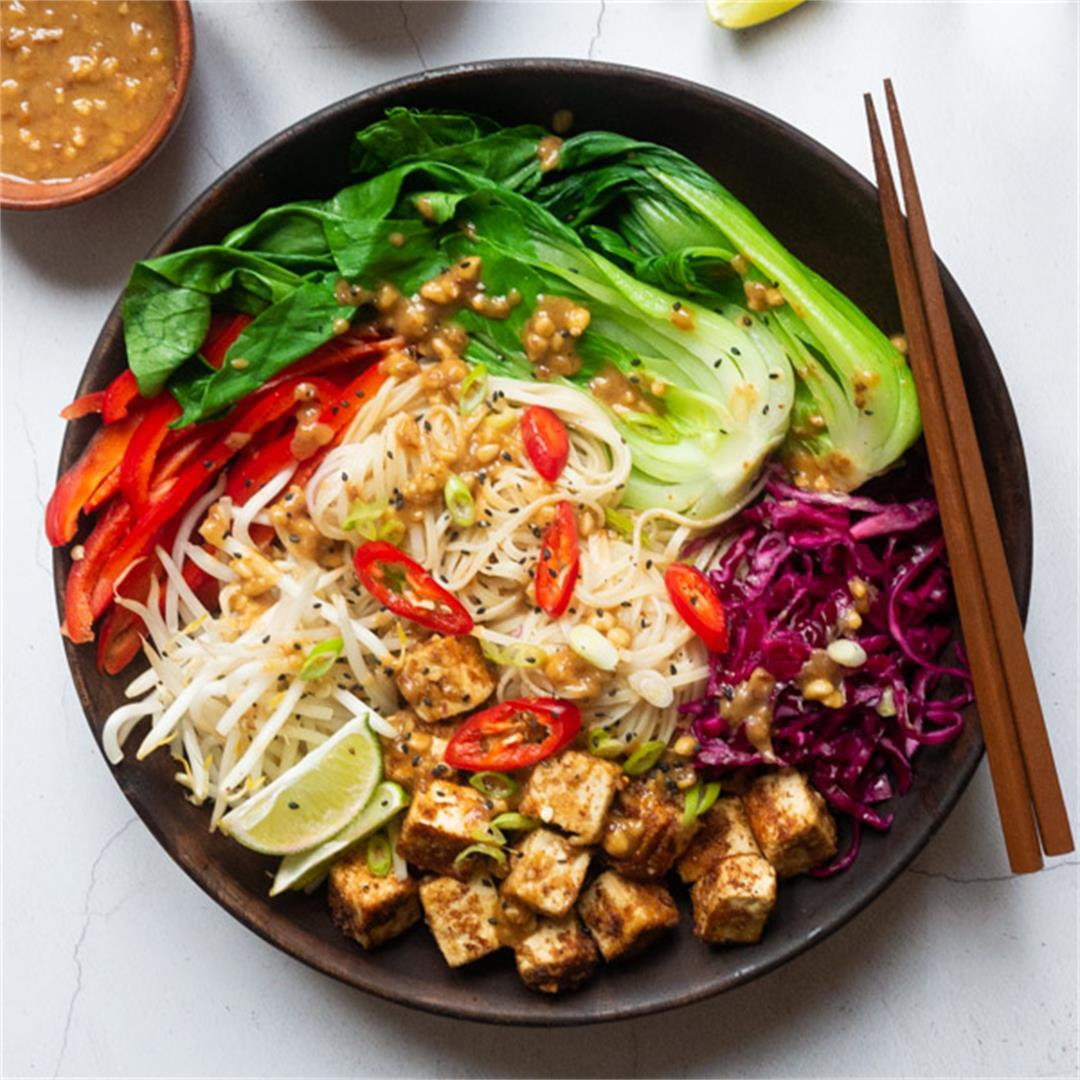 Peanut Tofu Noodle Bowl Recipe