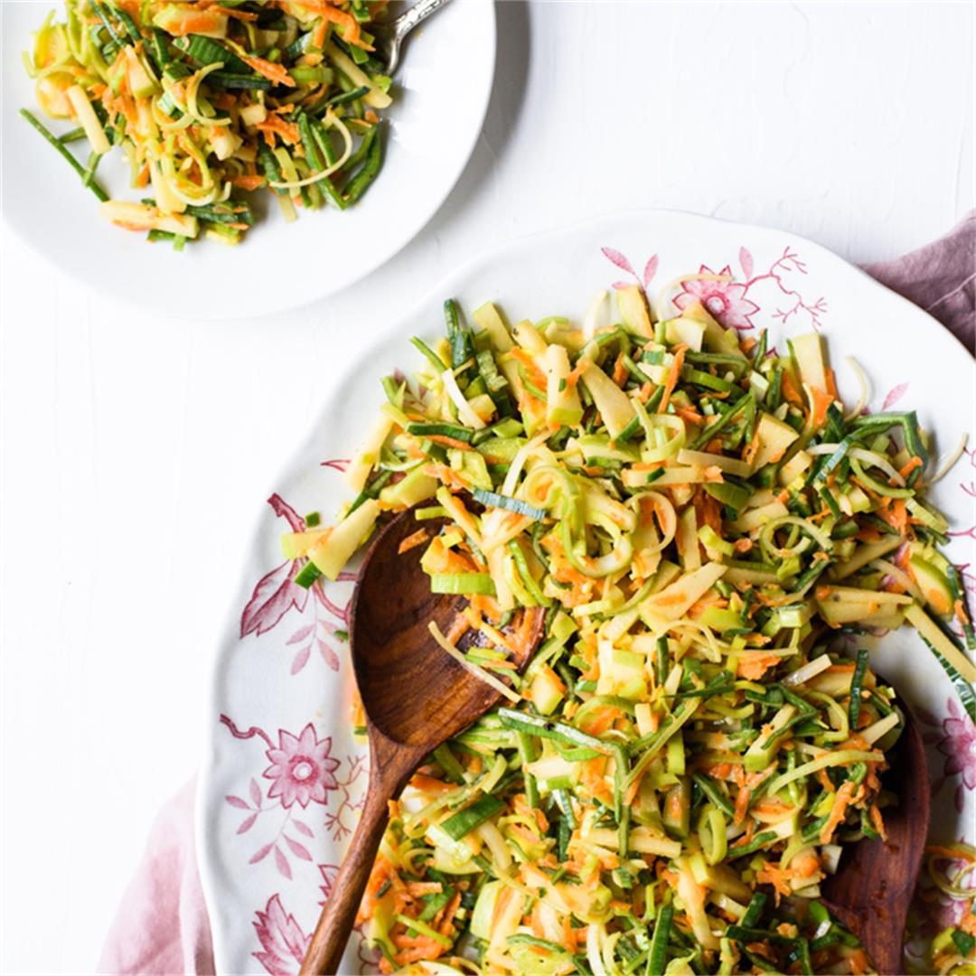 Leek Salad with Apples and Carrots