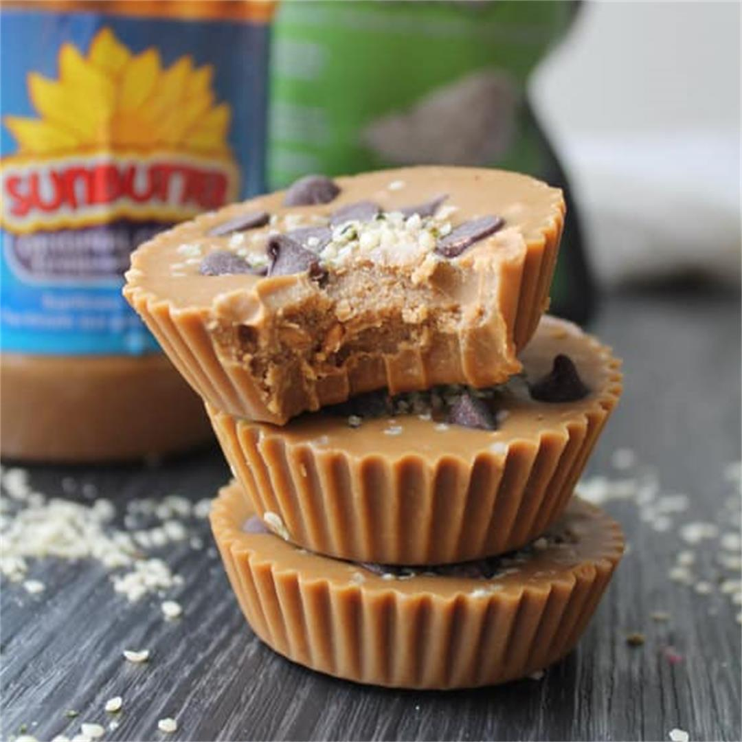 Sunbutter Cups with Dark Chocolate & Hemp Seeds