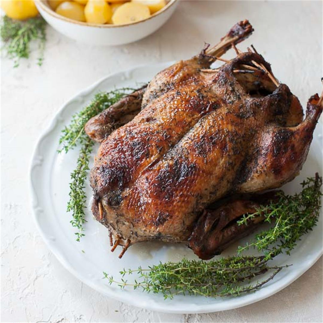 Roasted duck with apples + how to roast a whole duck