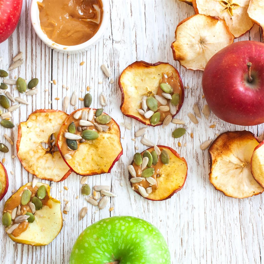 iApple Chips with Cashew Butter and Seeds