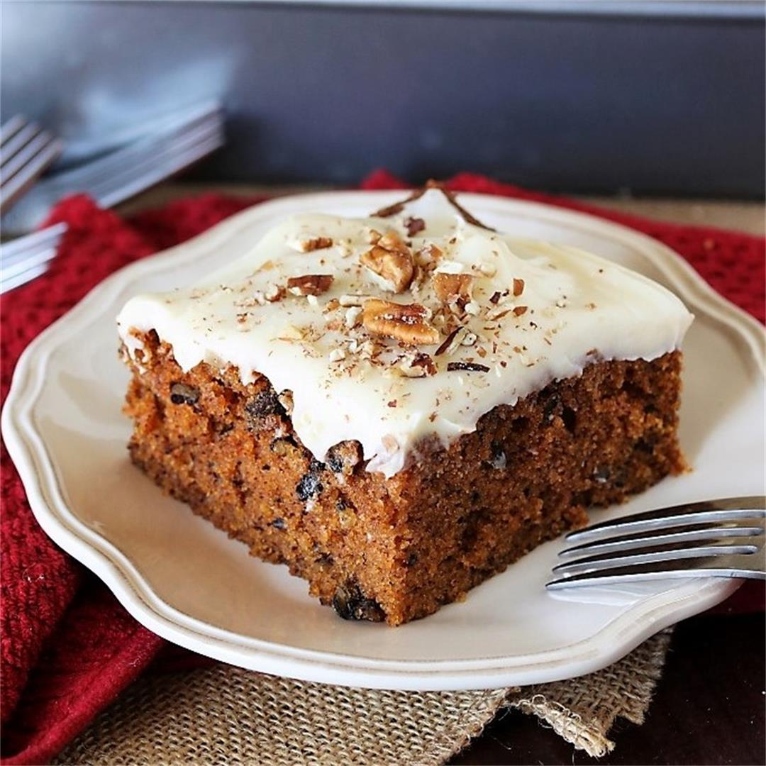 Carrot Cake Sheet Cake with Cream Cheese Frosting