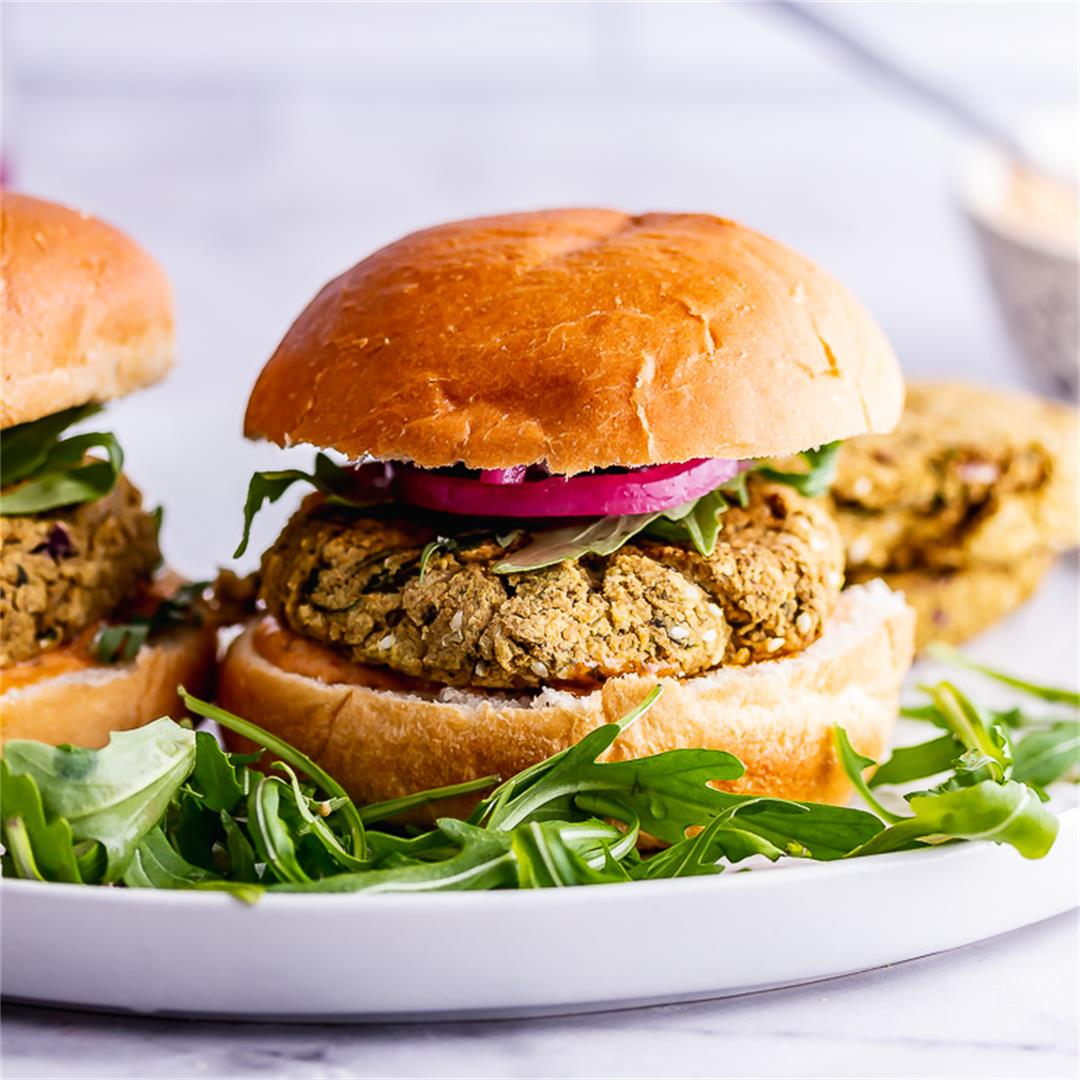 Baked Falafel Burger with Chipotle Mayo