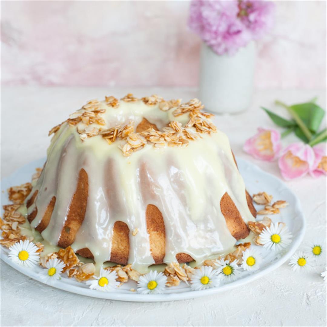 Almond bundt cake with white chocolate glaze
