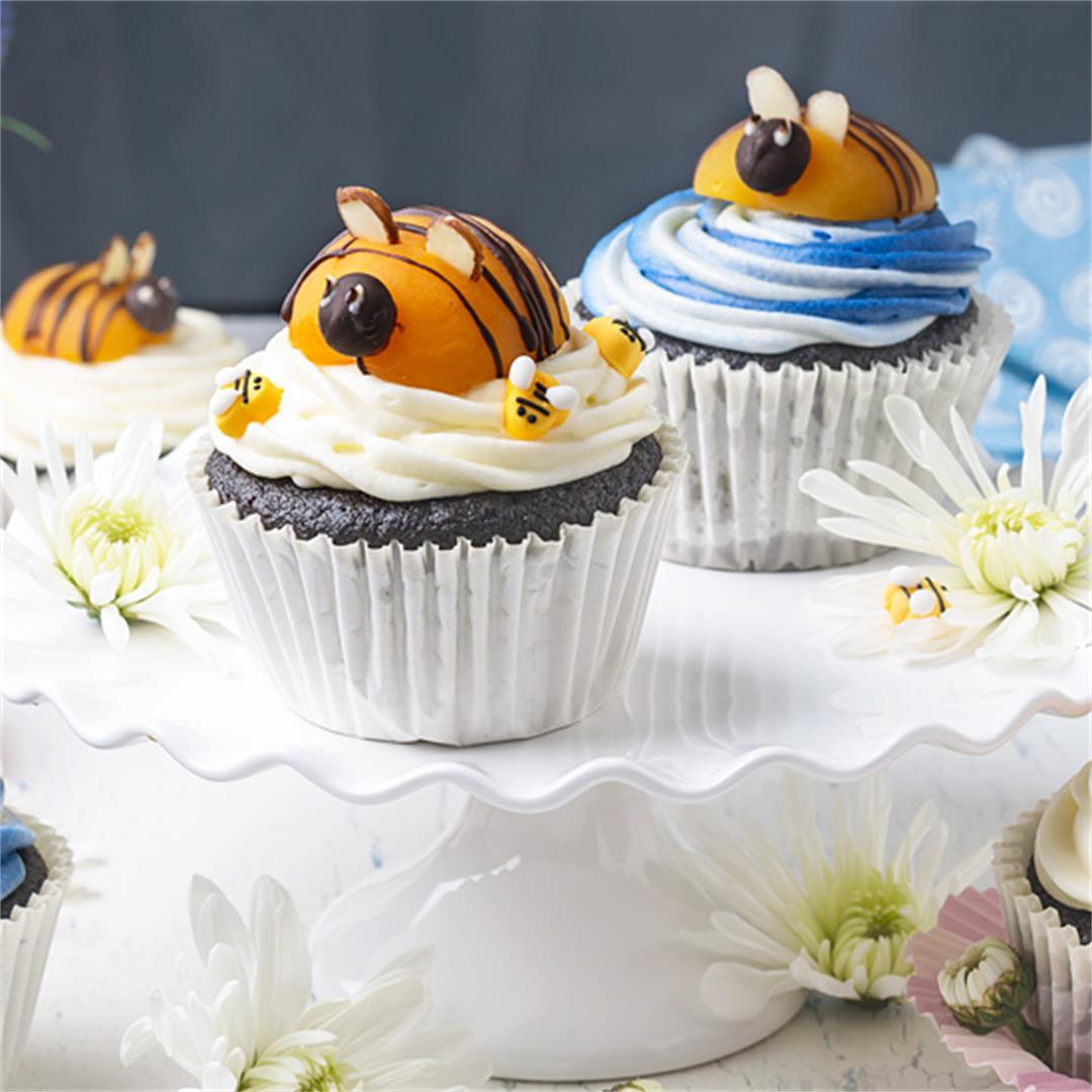 Bumblebee Chocolate Cupcakes with Cream Cheese Frosting