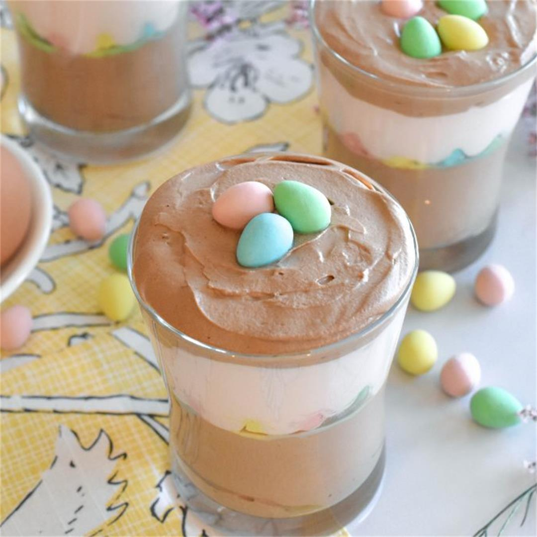 Easter Chocolate & Strawberry Mousse Cups