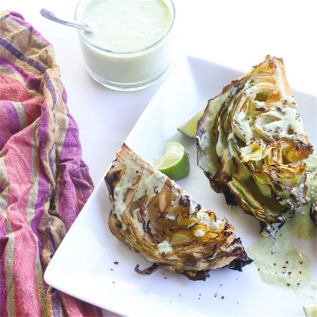 Smoked Cabbage Wedges with Pear-Lime Sauce