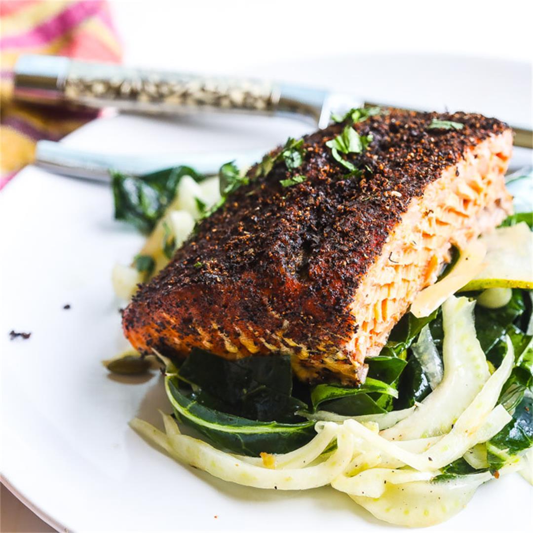 Tea Rubbed Cedar Plank Grilled Salmon
