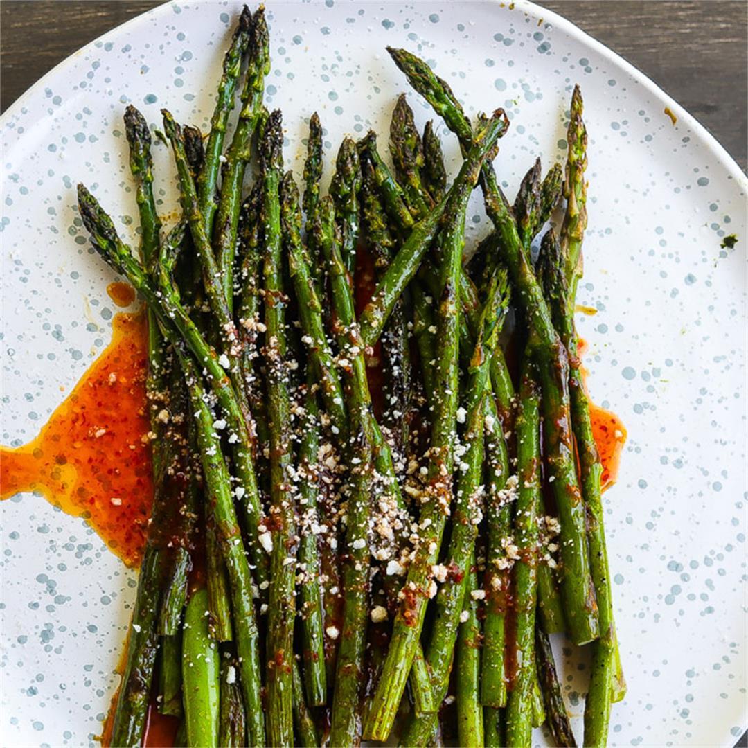 Charred Asparagus w/ Harissa Sauce