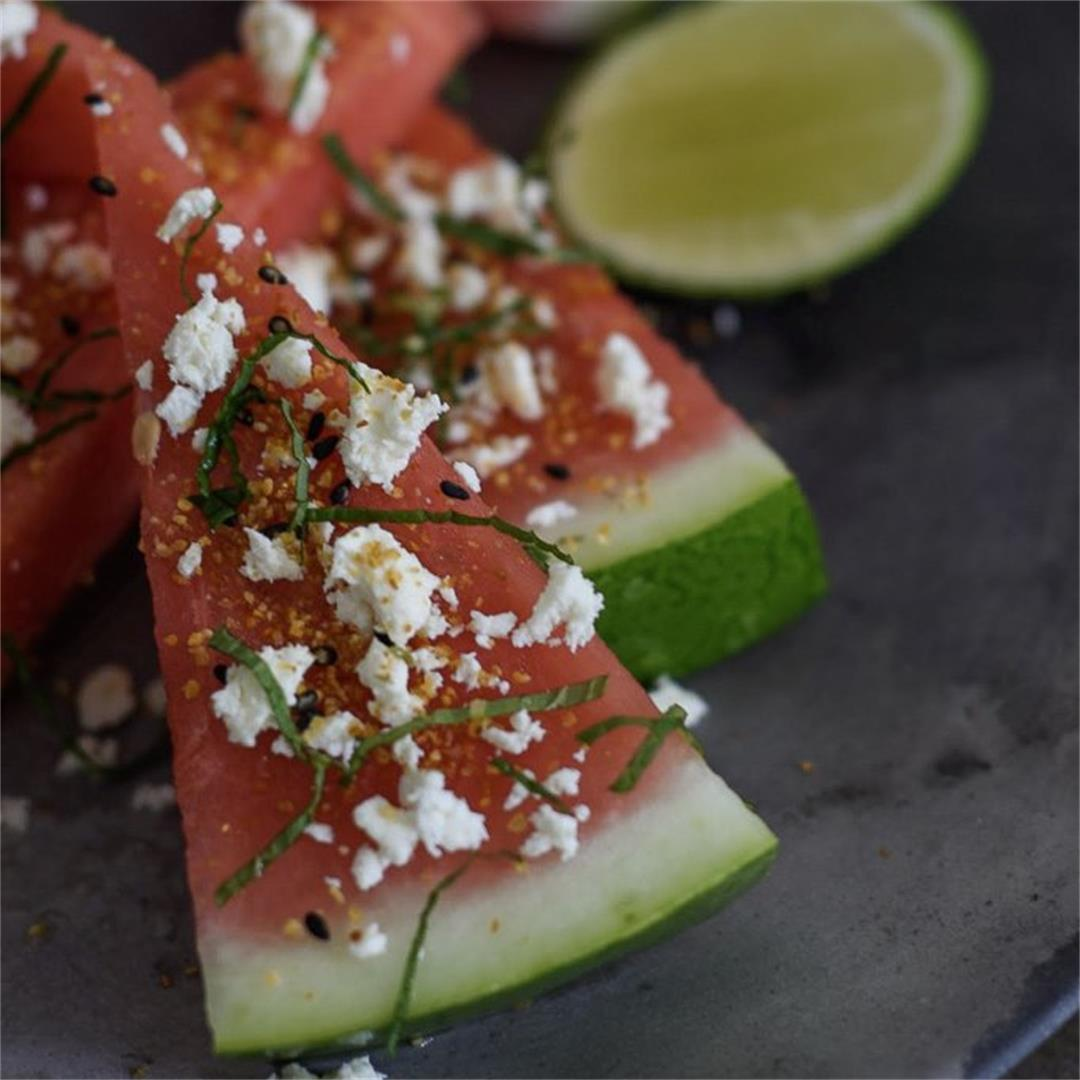 Watermelon, togaroshi, feta & mint