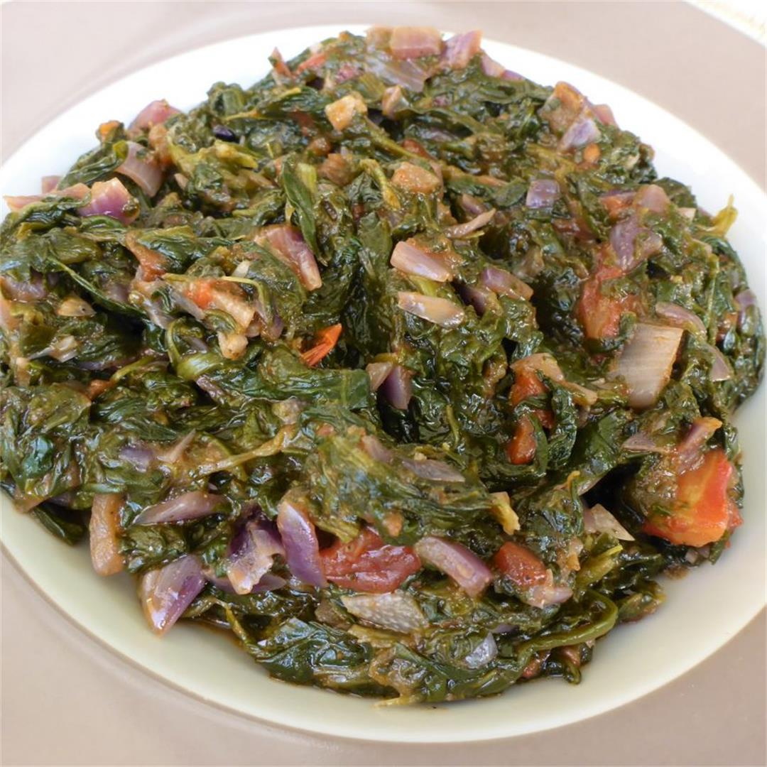 Namibian spinach stew (Ombidi) recipe (Vegan)