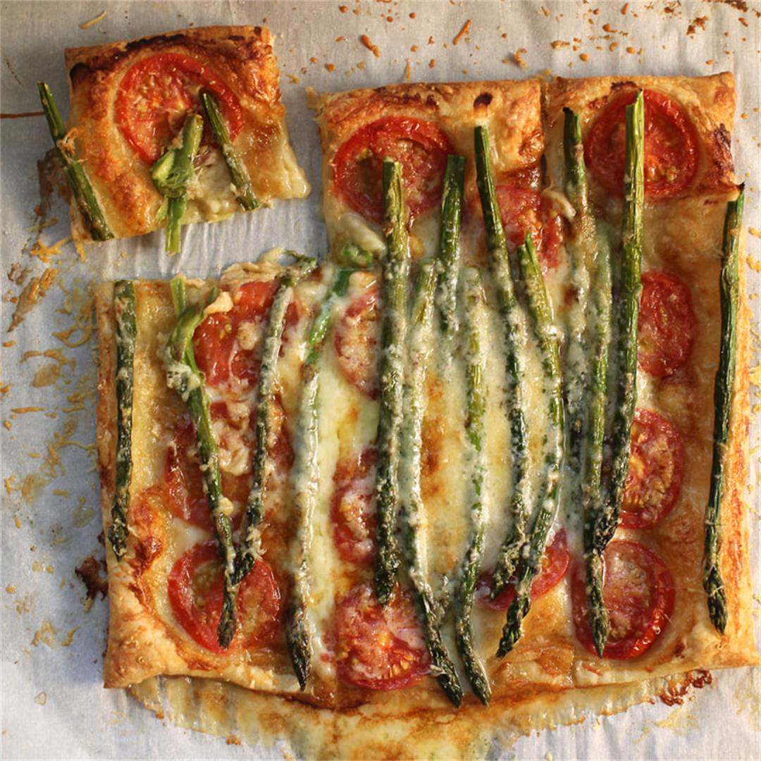 Tomato, Asparagus, Brie, and Parmesan Tart