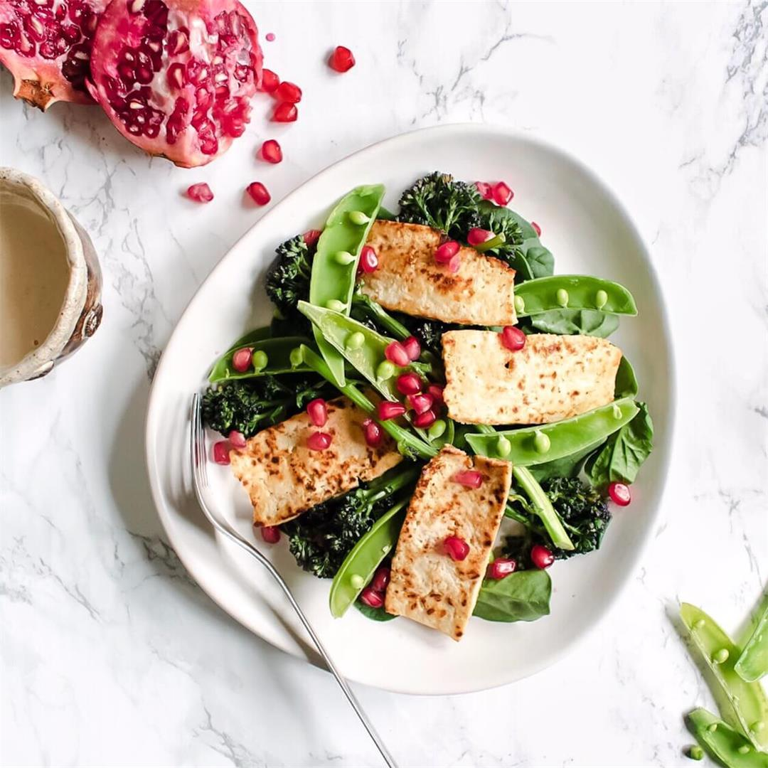Vegan Tofu 'Halloumi' Salad with Tahini Dressing