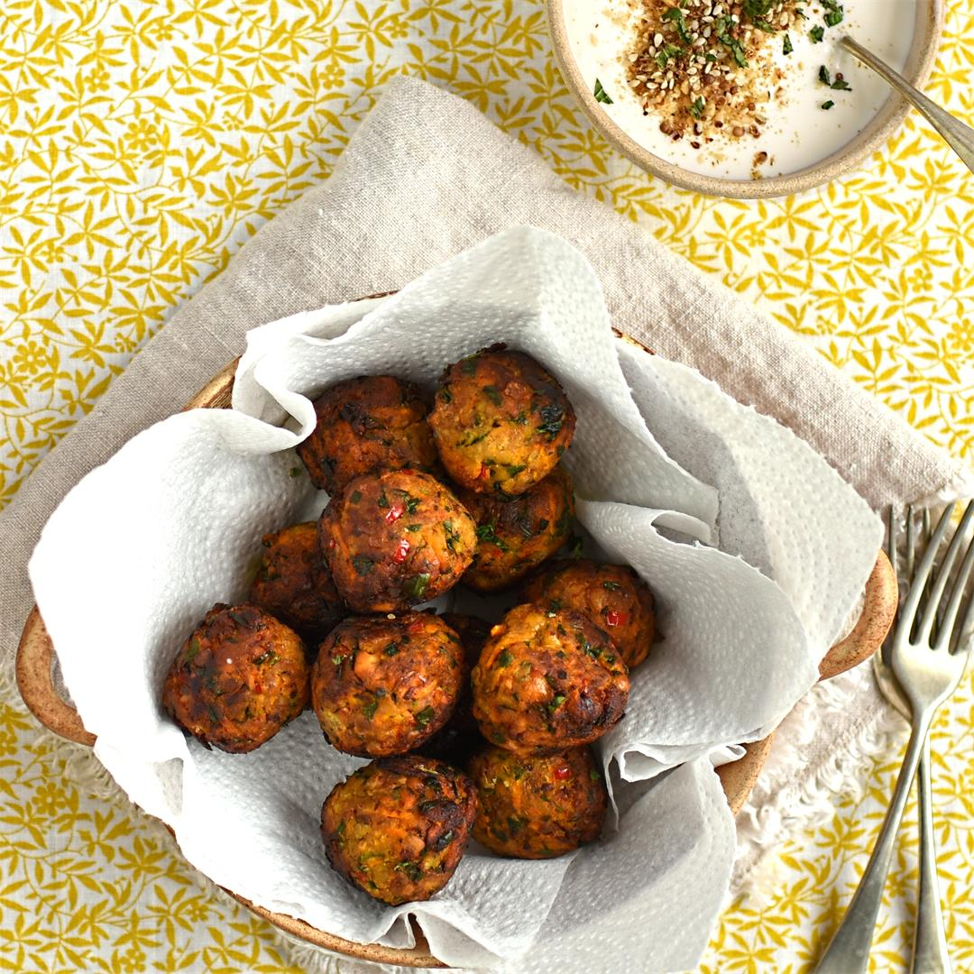 carrot and apricot falafel with whipped feta and dukkah