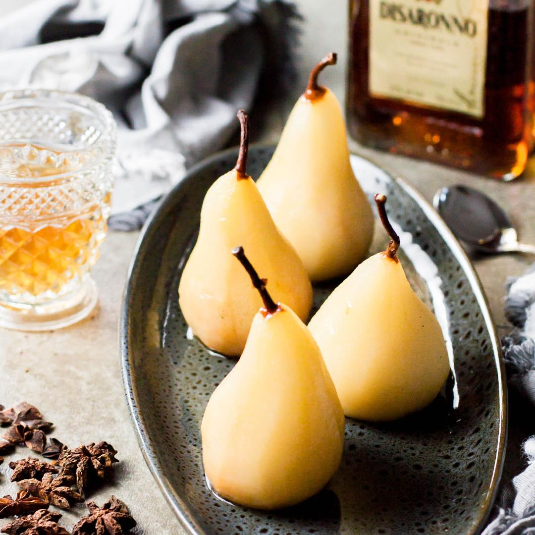 Spiced Amaretto Poached Pears