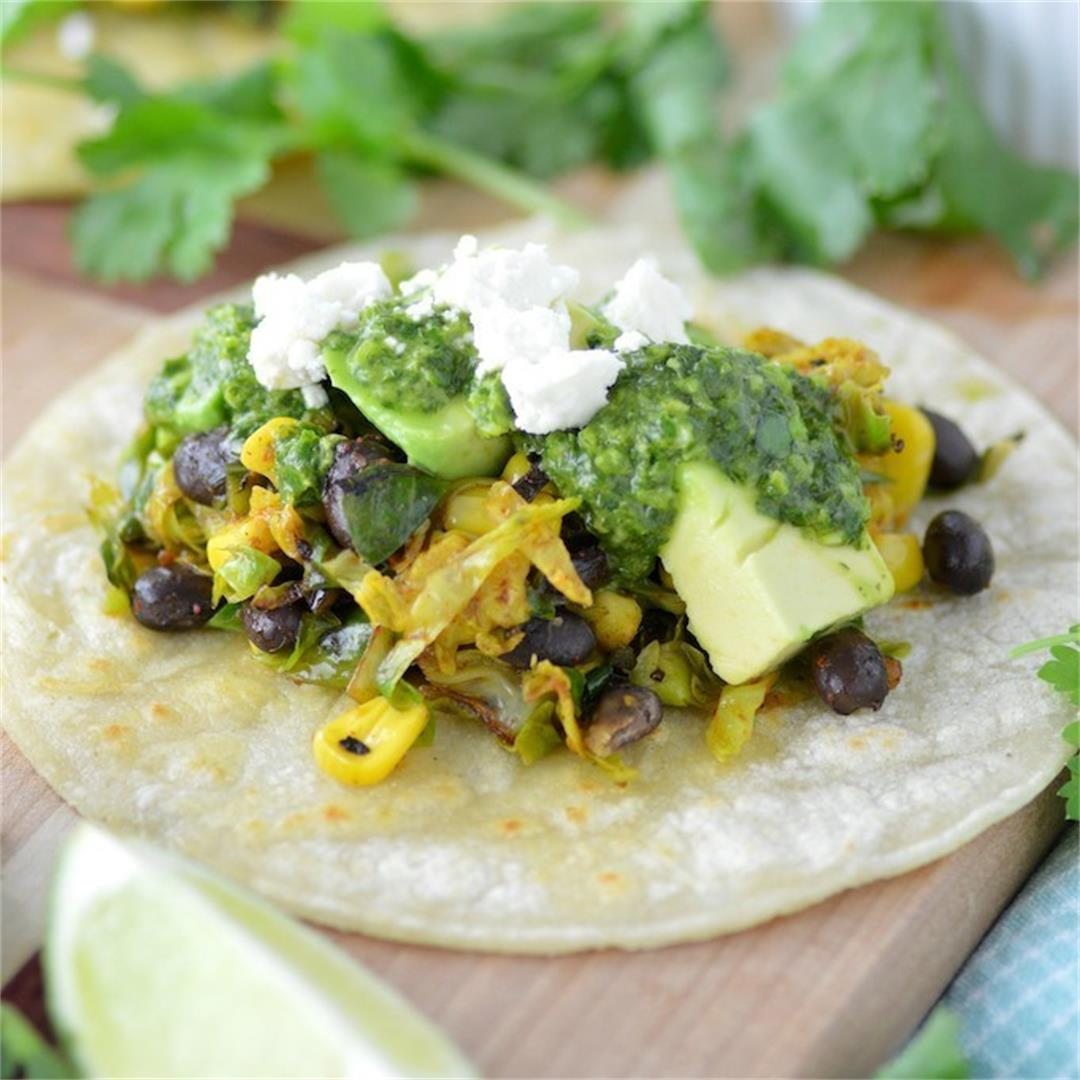 Brussels Sprouts Tacos with Cilantro Chimichurri