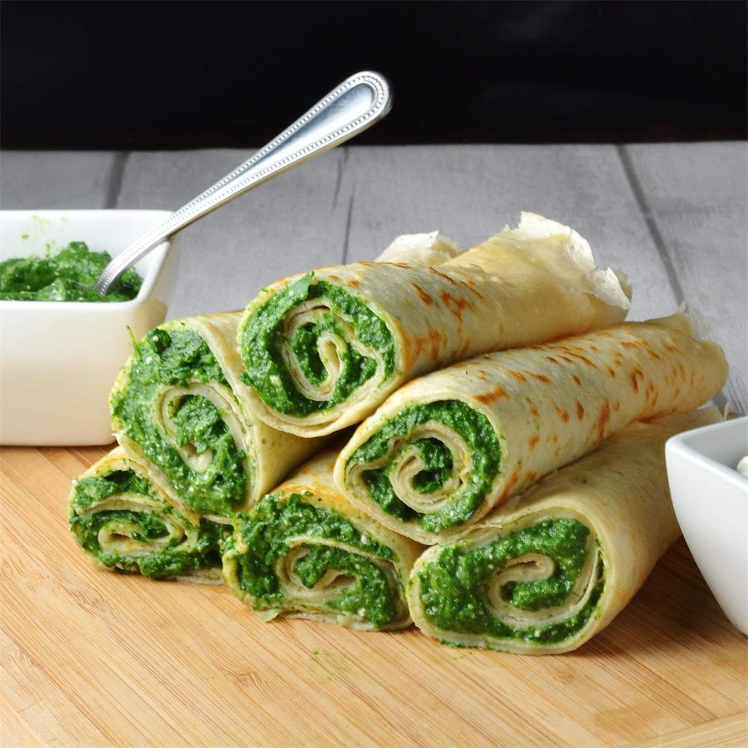 Crepes with Spinach and Cheese Filling