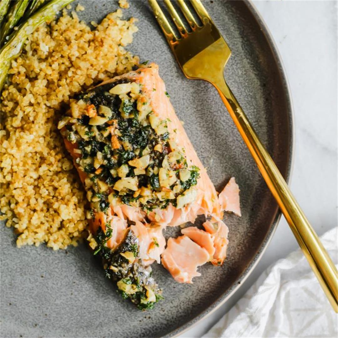 Garlic Butter Pan Roasted Salmon
