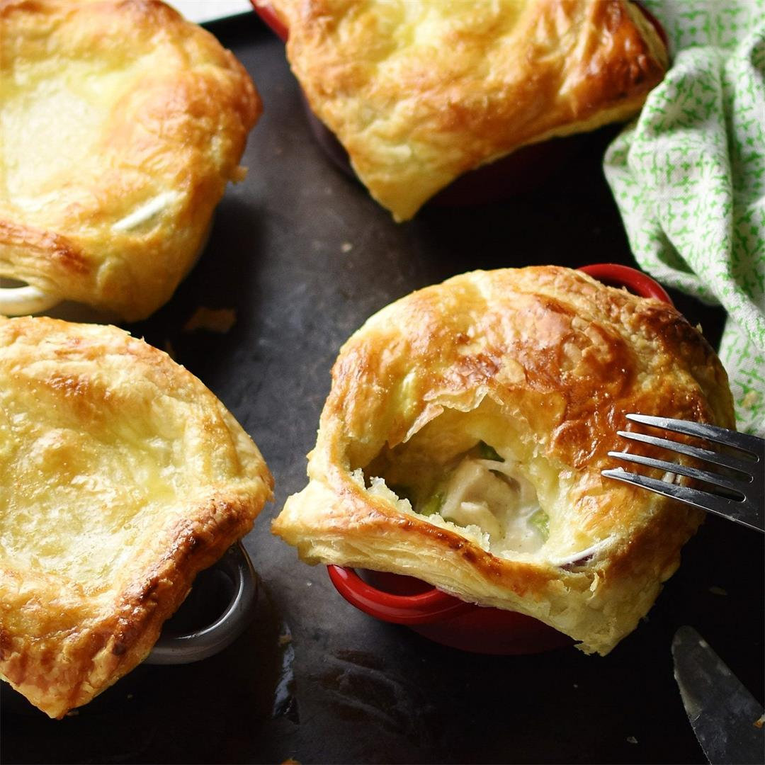 Mini Chicken Pot Pies with Asparagus (Healthy)