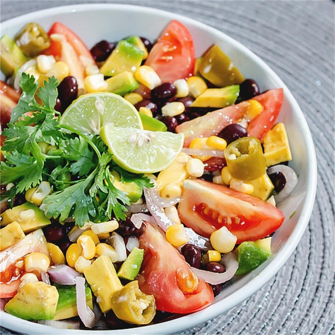 Mexican Corn Black Bean Salad Recipe 🥗 MasalaHerb.com