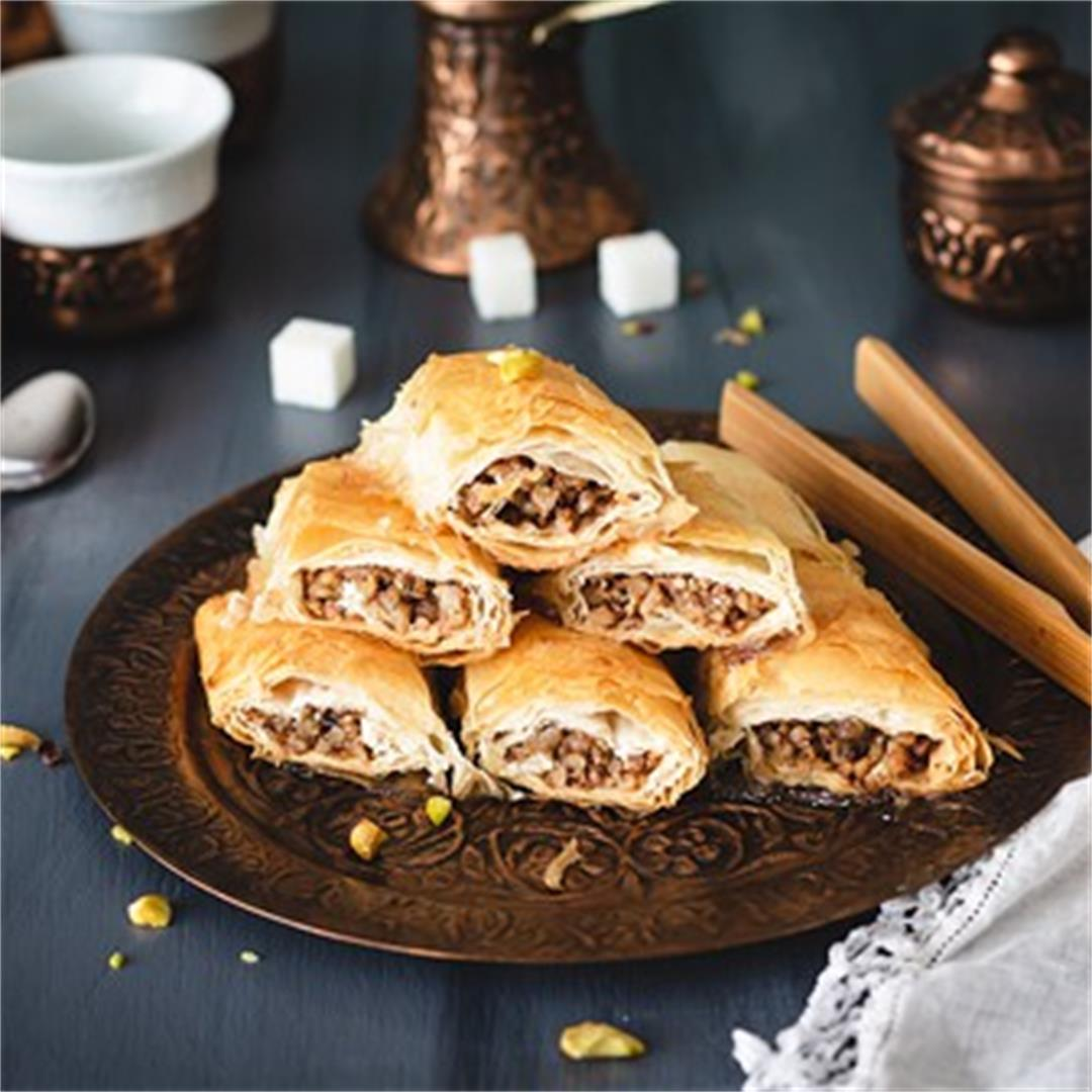 Easy Mediterranean Rolled Baklava with Walnuts
