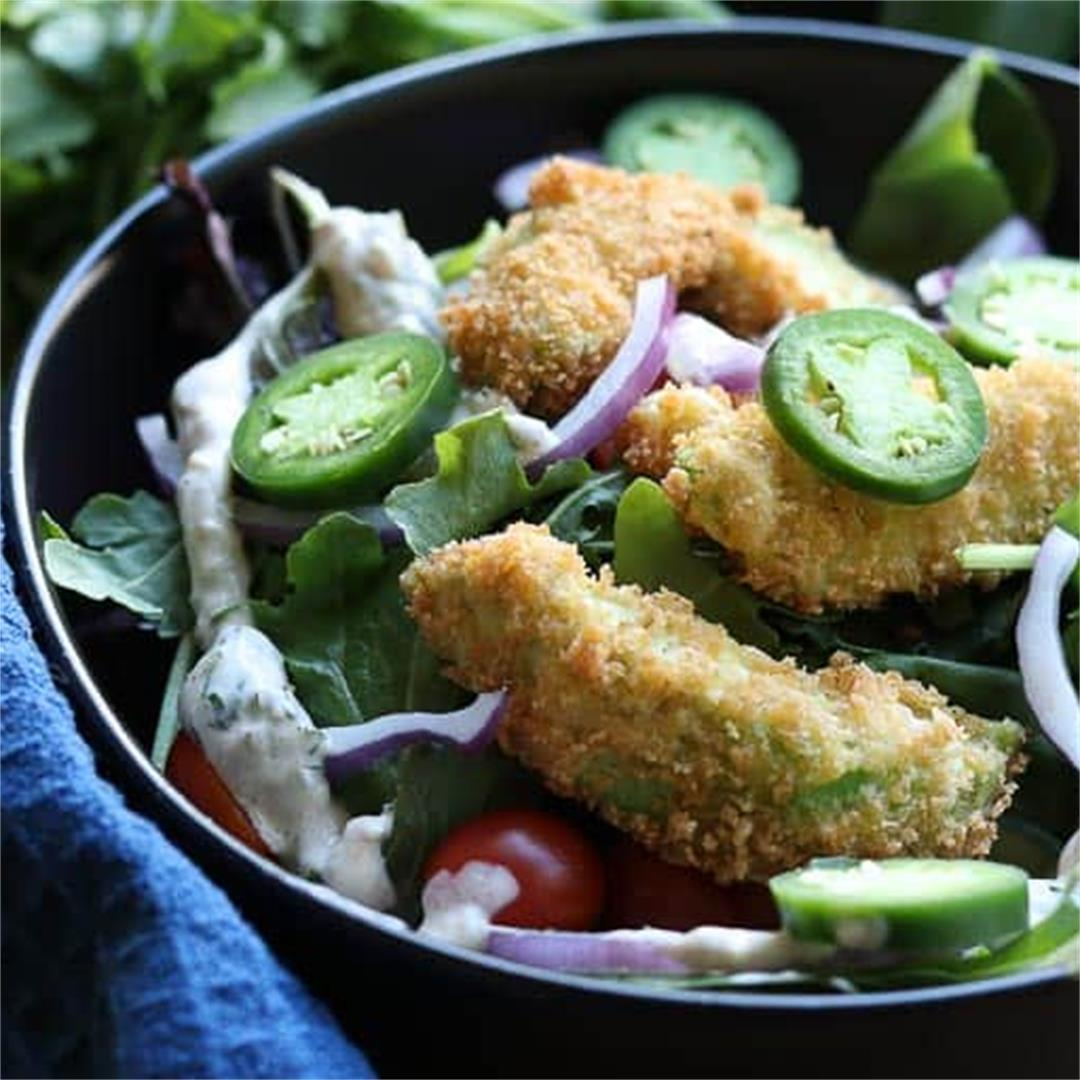 Fried Avocado Chicken Salad