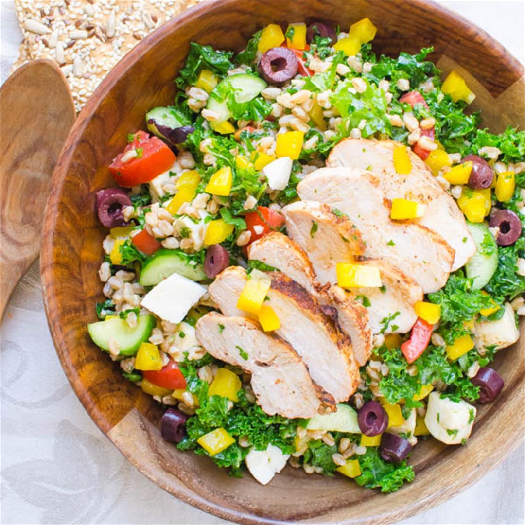 Chicken Kale Farro Salad with Honey Balsamic Vinaigrette