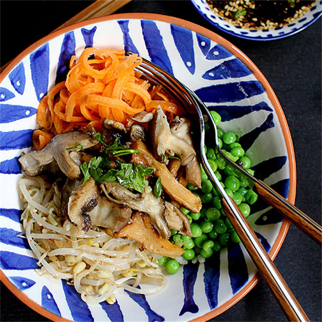 Wild mushroom donburi (Rice bowl)