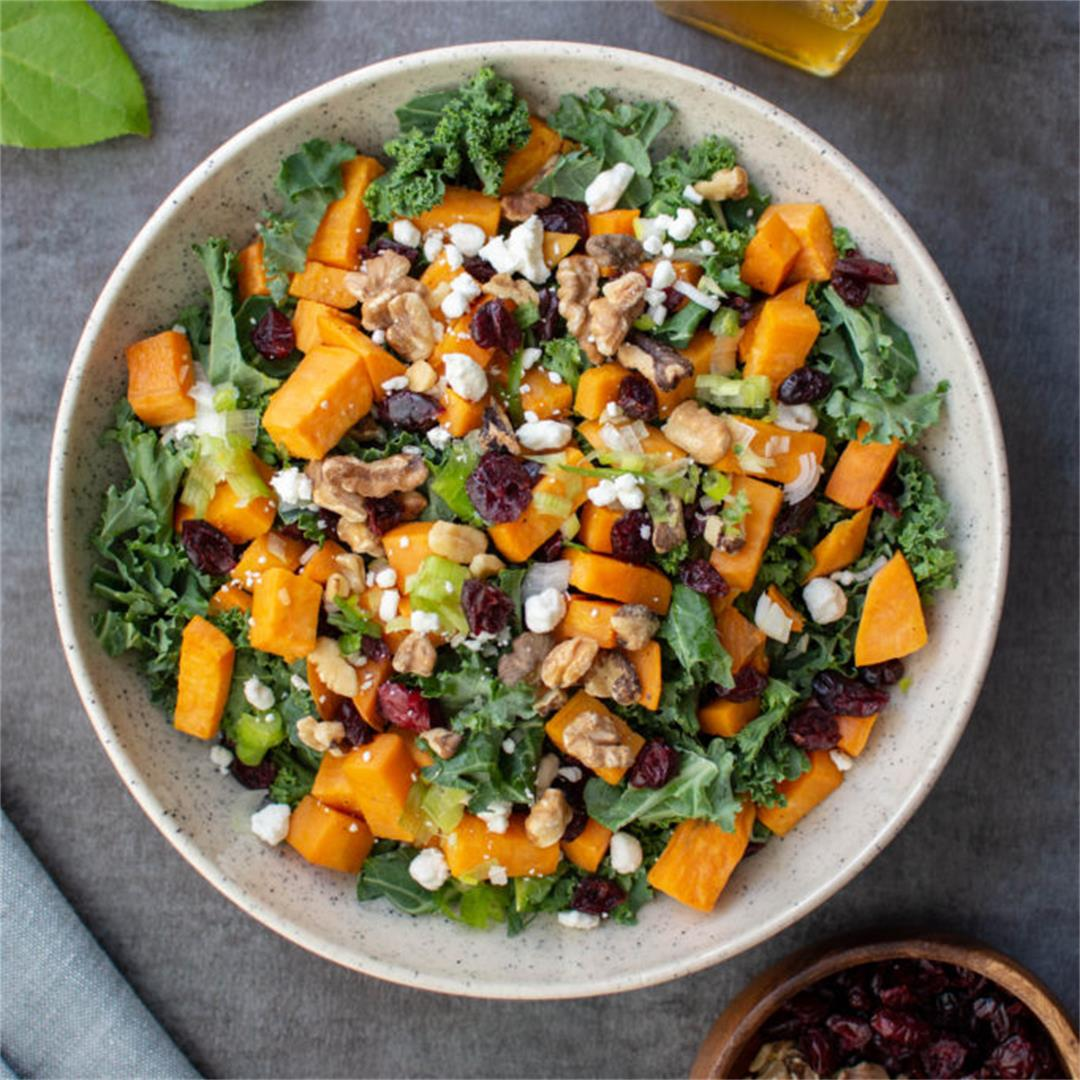 Sweet Potato Kale Salad with Cranberries, Walnuts, and Goat Che