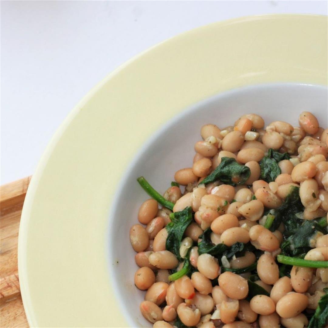 Spinach & Garlic Beans Recipe