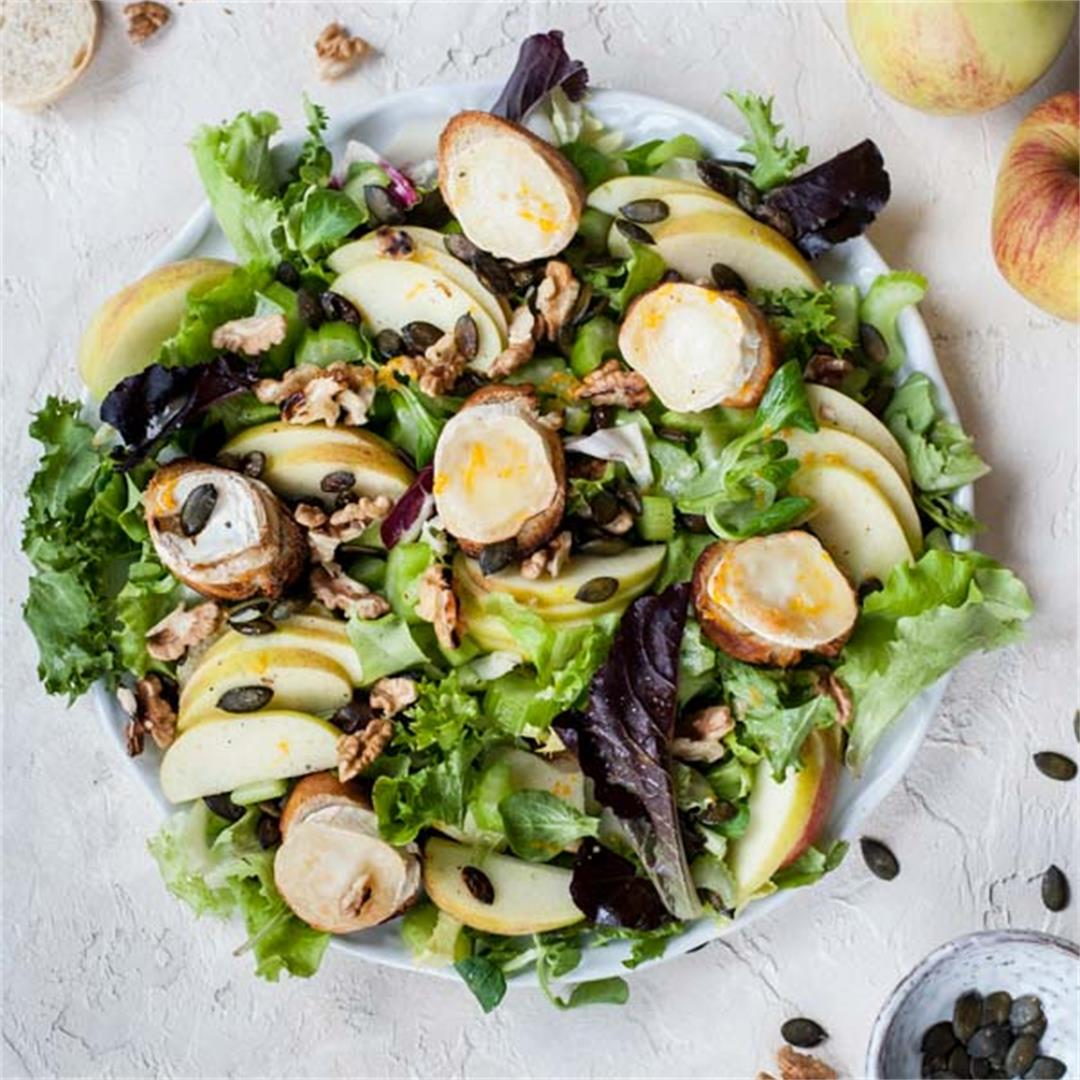Apple celery salad with walnuts and goat cheese