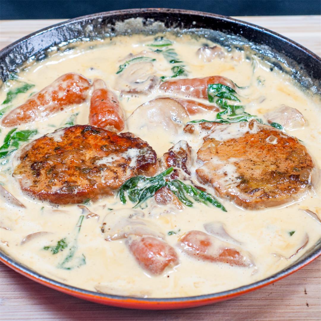 Pork Loin Chops in Brandy and Cream