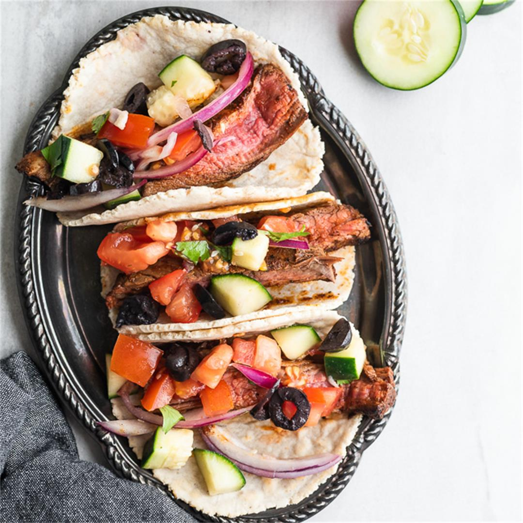 Steak Tacos with Greek Salsa (Gluten Free, Paleo)