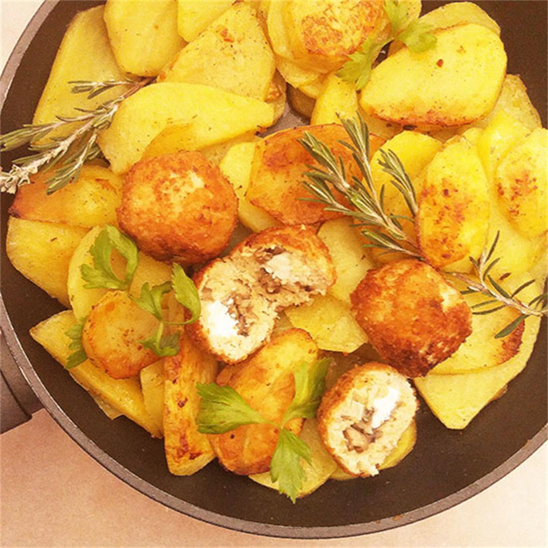 Feta and Mushrooms Stuffed Turkey Meatballs from Scratch